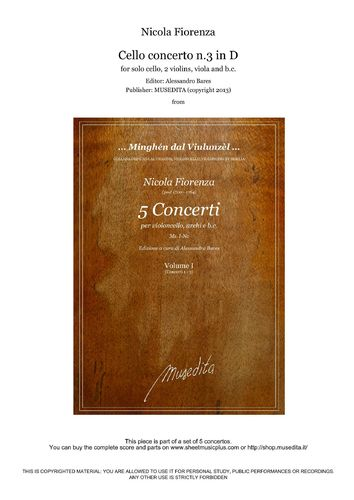 Fiorenza, Cello concerto n.3 in D